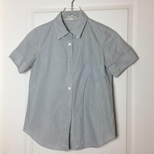 J Crew Short Sleeve Striped Oxford Blouse Size 2